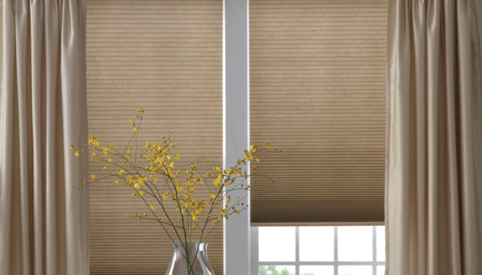 This Is A Picture Of A Window With Shades And Matching Curtains.