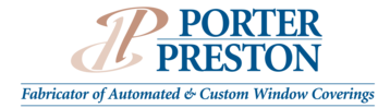 This Is A Picture Of The Porter Preston Fabricator Of Automated And Custom Window Coverings Logo.