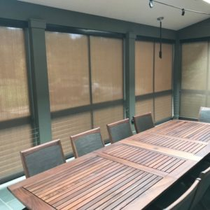 This Is A Picture Of A Sun Room Featuring Specialty Shades.