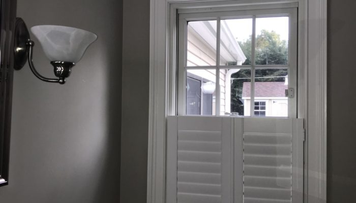 Woodlore Shutters, Norman Window Fashions, These Composite Shutters Work Great In High Moisture Areas Like Bathrooms.